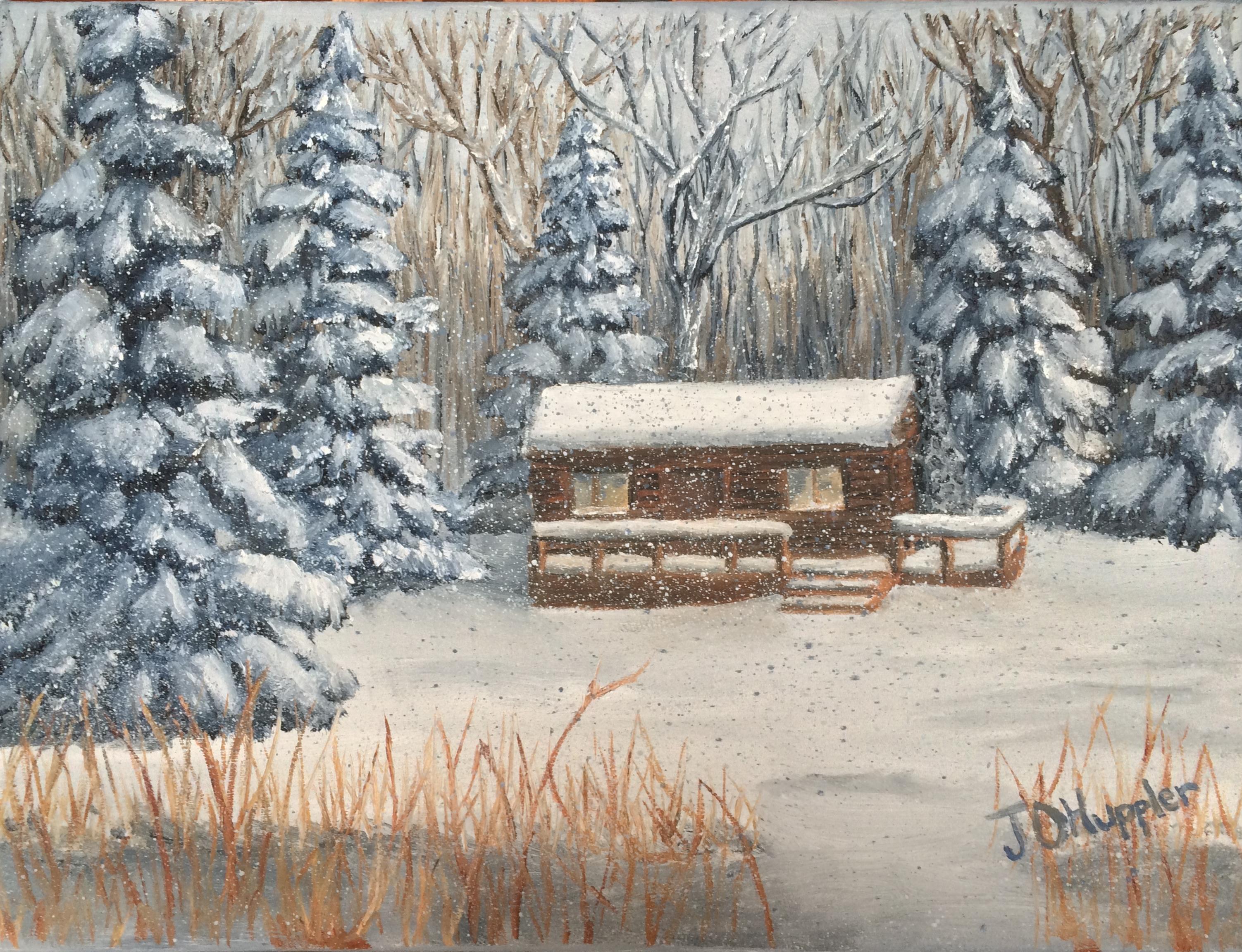 141 Log Cabin In A Winter Woods J O Huppler
