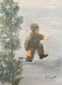 "Walking in Deep Snow is a 12""x9"" original oil on canvas of a child walking through knee deep snow."