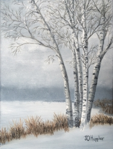 "Snow Coming into the South Shore is a 12""x9"" original oil on canvas of a group of birch trees near the south shore of Lake Superior with a snowstorm moving in across the lake."