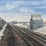 "Railroad Going North is an 18""x24"" original oil on canvas painting of railroad tracks running by the elevator of a small central Minnesota town in the winter."