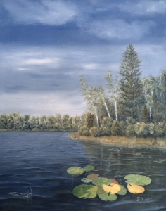 "Little Lake In the Woods is a 28""x22"" original oil painting on canvas of lily pads near the shore of a small woodland lake."