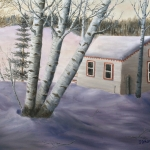 "White Cabin at Rest is a 22""x28"" original oil on canvas of a white summer cabin on a small frozen woodland lake covered with snow in an early winter evening."
