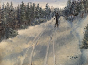 "Cross Country Skiing is a 9""x12"" original oil on canvas of a cross country skier in the late afternoon on trails in the SD Black Hills."