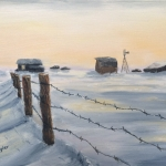"Winter Prairie is a 9""x12"" original oil on canvas of an old barbwire fence in the snow at sunset with a quiet farm in the distance."