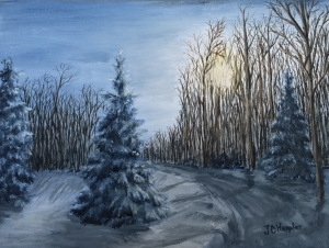 "Winter, Late Afternoon is a 9""x12"" original oil painting on canvas of a snowy rural road through a woods on a late afternoon in the winter."