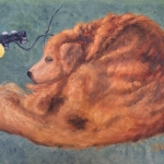 "Waiting for the School Bus is a 9""x12"" original oil painting on canvas of a golden retriever lying on the floor near a video game controller and a tennis ball."