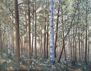 "Trillium is a 22""x28"" original oil painting on canvas of a central Minnesota woods in spring time with trillium blossoming."