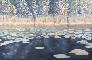 "Lily Pads Near Shore is a 20""x30"" original oil painting on canvas of lily pads growing near the shore of a small woodland lake."