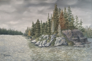 """Rocks Around the Island is a 12""""x18"""" original oil painting on canvas of a lake in the boundary waters wilderness area with granite cliffs and rocks along the shore of an island."""