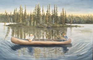 "Fishing from the Canoe is a 20""x30"" original oil painting on canvas of a father sitting in the back of a canoe catching a fish with his fishing pole bent while his daughter in the front of the canoe waves to someone or something passing by this wilderness lake."