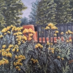 "Walking Path in Duluth is an 8""x10"" original oil painting on canvas of yellow flowers near a walking path's bridge over a river in Duluth, MN."