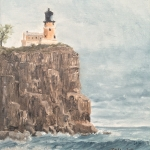 "Split Rock Light House 4 is a 10""x8"" original oil painting on canvas of Split Rock Lighthouse on the North Shore of Lake Superior."