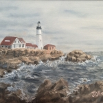 "Lighthouse is an 8""x10"" original oil painting on canvas of a lighthouse."