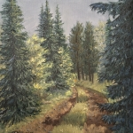 "Fir Trees Along Kenny's Road is an 10""x8"" original oil painting on canvas of fir trees growing along a rural road through the woods of northern Minnesota."