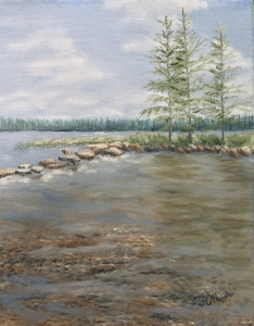 "Mississippi Headwaters 2 is an 2 10""x8"" original oil painting on canvas of the beginning of the Mississippi River at Itasca State Park on a sunny summer day."