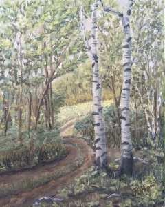 """Edge of the Woods is a 10""""x8"""" original oil painting on canvas of sun shining on a trail and meadow near the edge of a forest."""