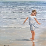 "Princess Katie 20""x16"" original oil painting on canvas of a little girl dancing in the wind on an ocean beach"