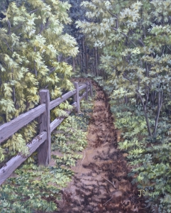 "State Park Walking Trail is a 20""x16"" original oil painting on canvas of a split rail fence along a path through the woods."