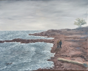 "North Shore Beach is a 16""x20"" original oil painting on canvas of a couple walking along a beach on the north shore of Lake Superior."