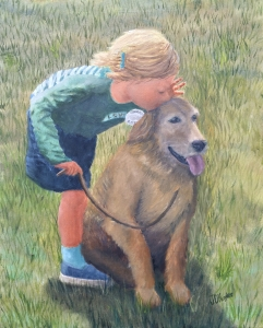 "Sharing Secrets is a 20""x16"" original oil painting on canvas of a little girl whispering to a golden retriever pet."