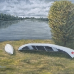 "Two Canoes is a 16""x20"" original oil painting on canvas of two canoes pulled up on shore after a rainstorm."