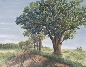 "Country Road 16""x20"" original oil painting on canvas of big, mature, cottonwood trees along a gravel road on the prairie."