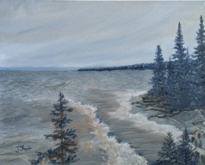 "Lake Superior North Shore is a 16""x20"" original oil painting on canvas of small waves rolling into a wooded shore along the north shore of Lake Superior."