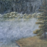 "Morning Mist Over the Lake is a 16""x20"" original oil painting on canvas of mist rising off a small woodland lake near dawn on a summer morning."