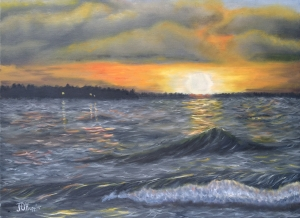 "Waves at Sunset 16""x20"" original oil painting on canvas of a large lake with waves at sunset."