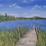 "View from the Dock 16""x20"" original oil painting on canvas of a dock surrounded by cattails on a small lake."