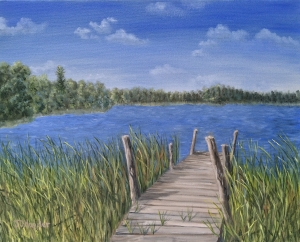 """View from the Dock 16""""x20"""" original oil painting on canvas of a dock surrounded by cattails on a small lake."""