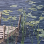 "Dock with Lily Pads & Cattails 18""x24"" original oil painting on canvas of a dock and nearby weeds and lily pads on a small lake."