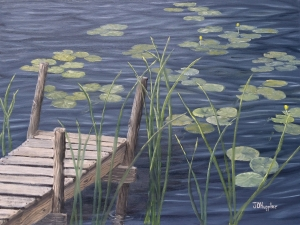 """Dock with Lily Pads & Cattails 18""""x24"""" original oil painting on canvas of a dock and nearby weeds and lily pads on a small lake."""
