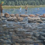 "Children Playing in the Lake (at Itasca Lake) is a 20""x16"" original oil painting on canvas of children playing in the water of the beginning of the Mississippi River at Itasca State Park in Minnesota."
