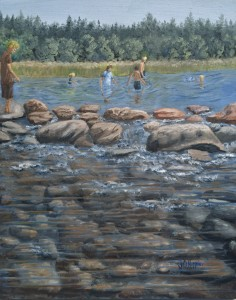 """Children Playing in the Lake (at Itasca Lake) is a 20""""x16"""" original oil painting on canvas of children playing in the water of the beginning of the Mississippi River at Itasca State Park in Minnesota."""