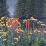"Walking Path at Duluth 2 16"" x 20"" original oil painting on canvas of yellow flowers near a walking path's bridge over a river in Duluth MN."