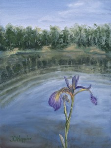 "Wild Iris 12""x9"" original oil painting on canvas of a wild iris near a wilderness lake."