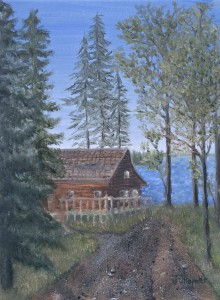 """Road to the Lake 12""""x9"""" original oil painting on canvas of a summertime gravel road leading to a lake cabin."""
