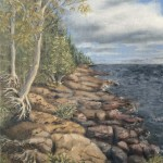 "North Shore Lake Superior is a 10""x8"" original oil painting on canvas of rocks and trees along the north shore of Lake Superior."