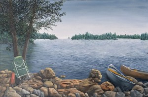 BWCA Lake Shore is a 20 inch by 16 inch original oil painting on canvas of two canoes pulled up to shore and unloaded along the rocky shore of a wilderness lake in the Boundary Waters