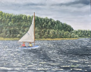 Learning to Sail is a 16inch by 20 inch original oil painting on canvas of a small sail boat on a small lake.