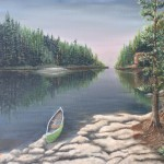 Morning Canoe is a 16 inch by 20 inch original oil painting on canvas of a canoe pulled up to the rocky shore of a woodland lake just after dawn.
