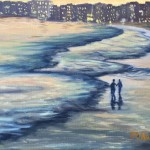 Walking on the Beach is a 9 inch by 12 inch original oil painting on canvas of a couple walking on an ocean beach at sunset.