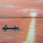 Canoeing at Sunset is a 9 inch by 12 inch original oil painting on canvas of two people canoeing on a calm, large lake at sunset.