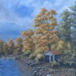 Boat House (End of Season) is a 10 inch by 8 inch original oil painting on canvas of an old boathouse among the fall foliage near a lake shore.