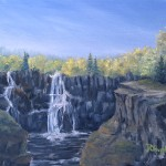 High Falls is an 8 inch by 10 inch original oil painting on canvas of High Falls, a waterfall on a river separating Minnesota, USA and Ontario, Canada.
