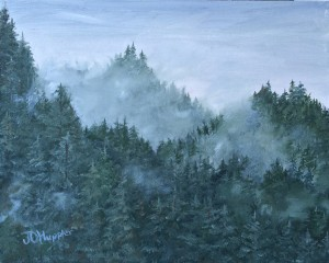 Mountain Mist is an 8 inch by 10 inch original oil painting on canvas of forested mountain foothills in the morning mist.