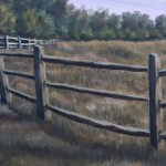 Split Rail Fence is a 10 inch by 8 inch original oil painting on canvas of a split rail fence around a woodland meadow.