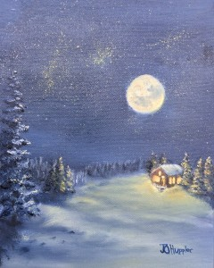 Moonlight on Snow is a 10 inch by 8 inch original oil painting on canvas of the full moon shining on a snow scene of small house in the woods.