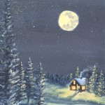 Moonlight on Snow 2 is a 24 inch by 12 inch original oil painting on canvas of the full moon shining on a snow scene of small house in the woods.
